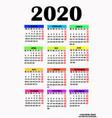 simple design for calendar 2020 vector image vector image