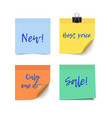 sticky notes paper vector image vector image