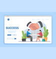 success in business concept with large handshake vector image