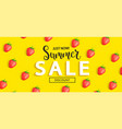 summer sale strawberry banner on yellow background vector image vector image