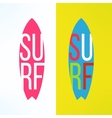 surf typography on surfing board in modern vector image vector image