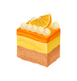 tasty three-layered dessert decorated with milk vector image vector image