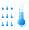 thermometer blue set different states vector image
