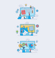 web development concept set with people silhouette vector image