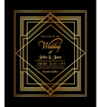 Wedding Invitation Card - Art Deco Gatsby Style vector image vector image