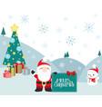 christmas winter scene santa claus and presents vector image