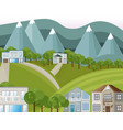 mountains village houses background vector image