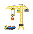 construction crane house and tipper car industry vector image