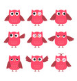 set of cute pink owls with various emotions vector image