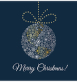 Christmas ball on dark blue background Planet made vector image