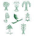A set of abstract graphical symbols of green trees