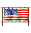 A wooden frame with the American flag vector image vector image