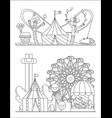 amusement park urban landscape with carousels vector image
