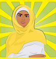arab woman in traditional clothes over retro comic vector image vector image