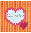 background with knitted heart vector image vector image