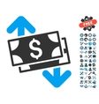 Banknotes Spending Flat Icon With Tools vector image vector image