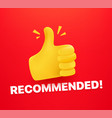 bast offer concept with thumbs up 3d comic style vector image