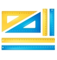 Blue and yellow rulers vector image vector image