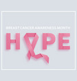 breast cancer awareness month background with pink vector image