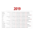 Calendar for 2019 vector image vector image