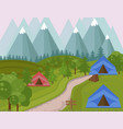 camping tents in the mountains background vector image vector image