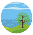 cartoon landscape with the lonely tree vector image