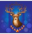 Christmas deer with bells vector image vector image