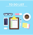 clipboard with to-do list phone coffee vector image