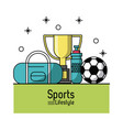 colorful poster of sports lifestyle with soccer vector image vector image