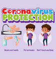 coronavirus protection banner with covid-19 vector image vector image