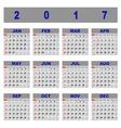 Create demo 2017 calendar template vector image vector image