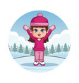 cute girl in winter clothes vector image vector image