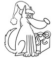 Dog and christmas gift coloring book vector image