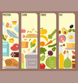 everyday food common goods organic cards products vector image