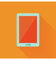 Flat tablet pc icon over orange vector image vector image