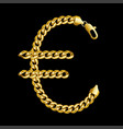 gold euro money sign made of shiny thick golden vector image vector image