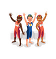 gold medal podium swimming athletes vector image vector image