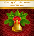Golden Christmas bell vector image vector image