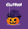 halloween card with pumpkin character vector image vector image