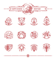 Happy Chinese New Year Icons Set vector image vector image