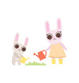 happy family bunnies mother rabbit and her vector image vector image