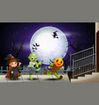 happy kids halloween in the full moon background vector image vector image