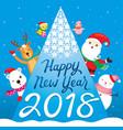 happy new year 2018 text santa claus reindeer vector image