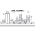 iowa des moines architecture line skyline vector image vector image