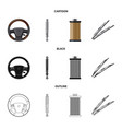 isolated object of auto and part icon collection vector image