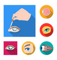isolated object of medical and eyeball logo vector image