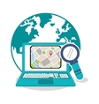 Laptop and gps map design vector image