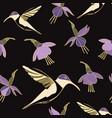 moody hummingbird floral seamless repeat pattern vector image