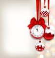 New Year Shimmering Background with Clock and vector image vector image