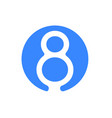number 8 eight font logo blue icon vector image vector image